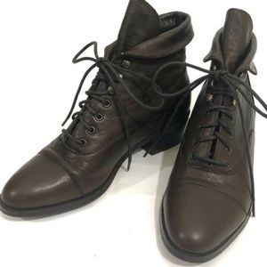 Dark Brown Lace Up Vintage Boots